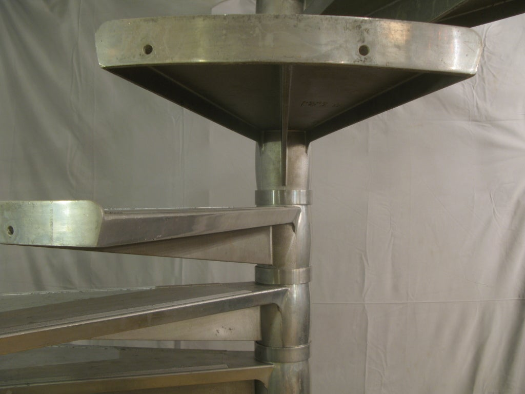 Mid-Century Modern Large Aluminium Spiral Staircase, France, 1950s