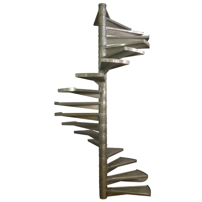 Large Aluminium Spiral Staircase, France, 1950s