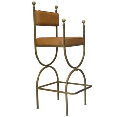 High Gilt Iron and Leather Curule Chair