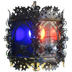 Wrought Iron Lantern with Coloured Glass