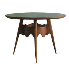 Italian Mid-Century Wood and Glass-Topped Round Dining Table