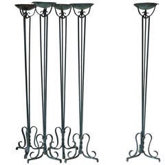 Set of Five Wrought Iron Art Deco Torchères, France, 1940s
