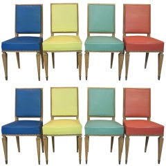 Set of 8 Dining Chairs by Jean Pascaud