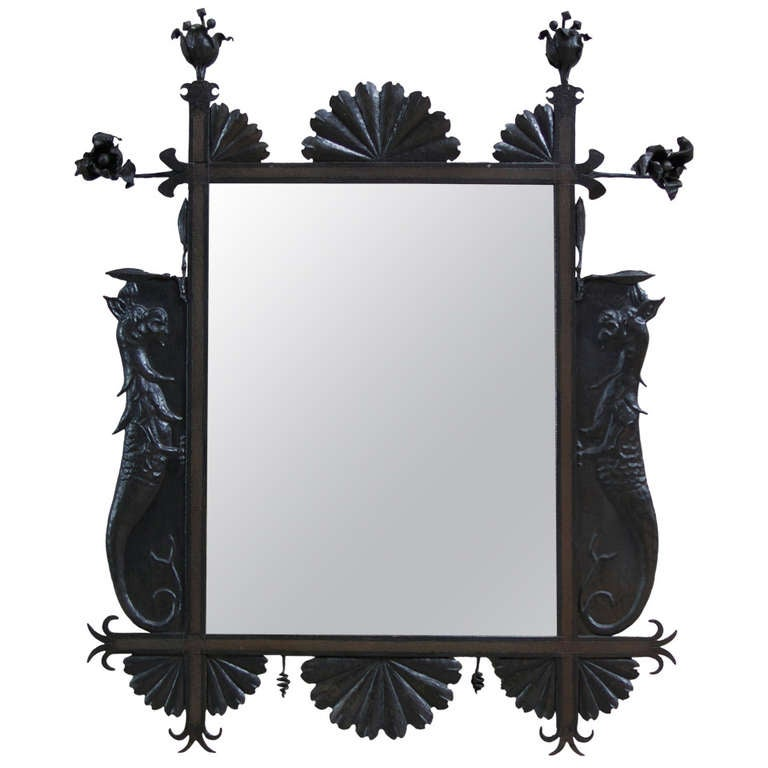Dragons and roses wrought iron mirror france early for Wrought iron mirror