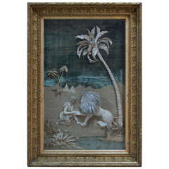 """Napoleon III Picture """"St Jerome and the Lion"""" in Fabric - France, 19th Century"""