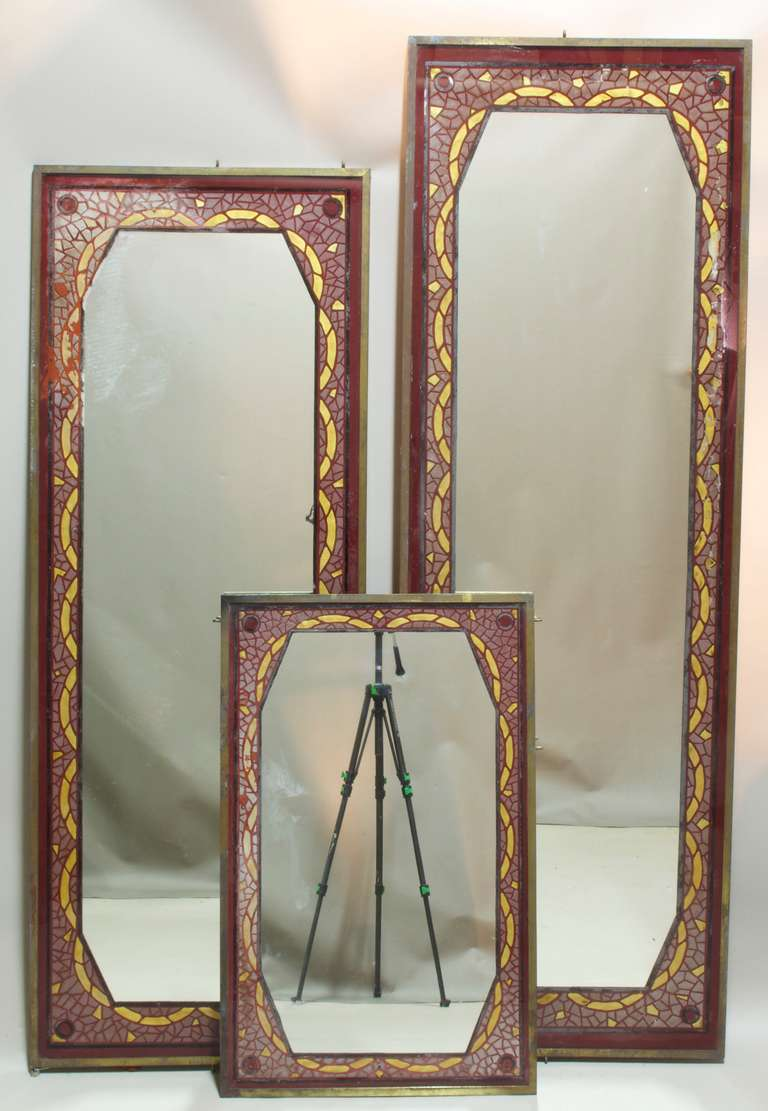 Mirror Wall Decor Set Of Three : Set of three art deco reverse painted mirrors france