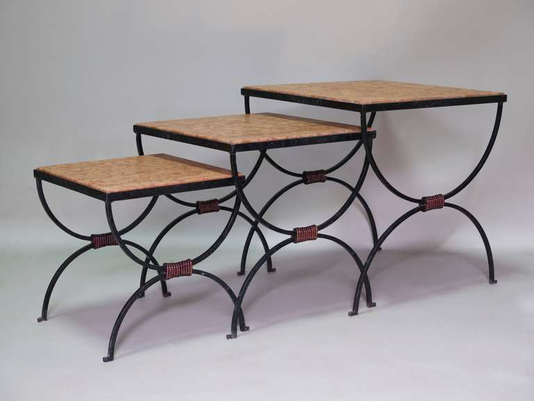 Set of wrought iron and marble nesting tables france
