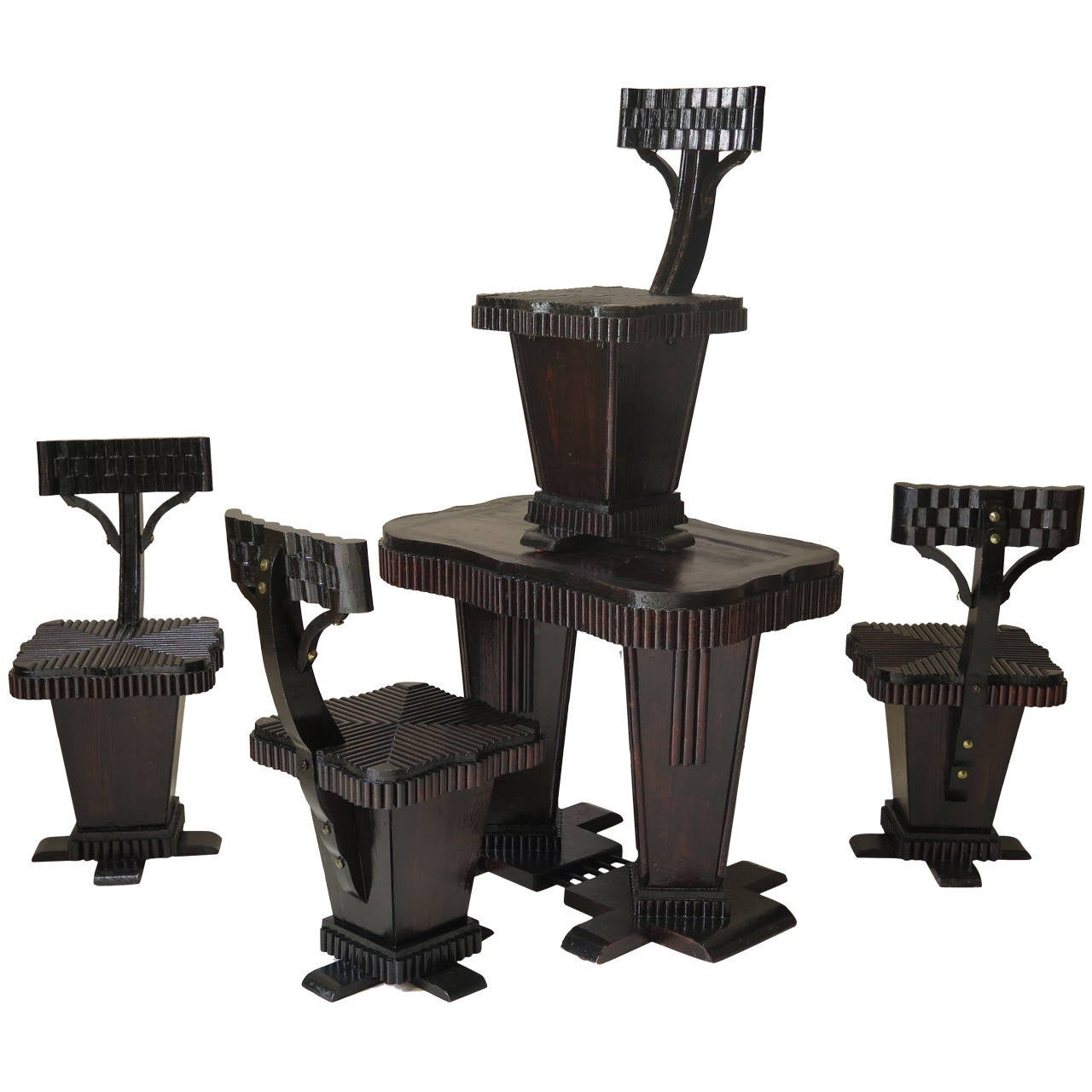 Geometric-Patterned Art Deco Table and Chair Set, France, 1930s
