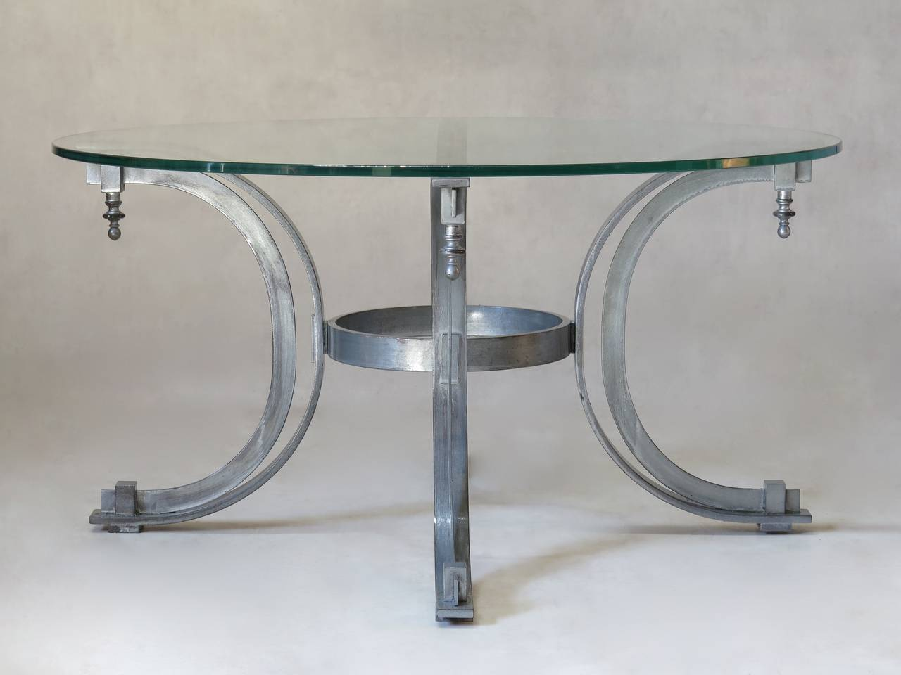 Silvered Iron Coffee Table with Glass Top, France, 1950s In Excellent Condition For Sale In Isle Sur La Sorgue, Vaucluse