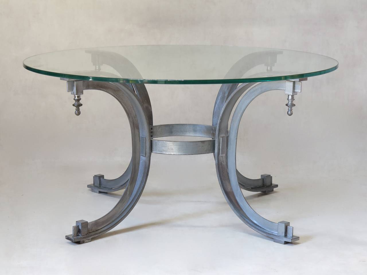 French Silvered Iron Coffee Table with Glass Top, France, 1950s For Sale