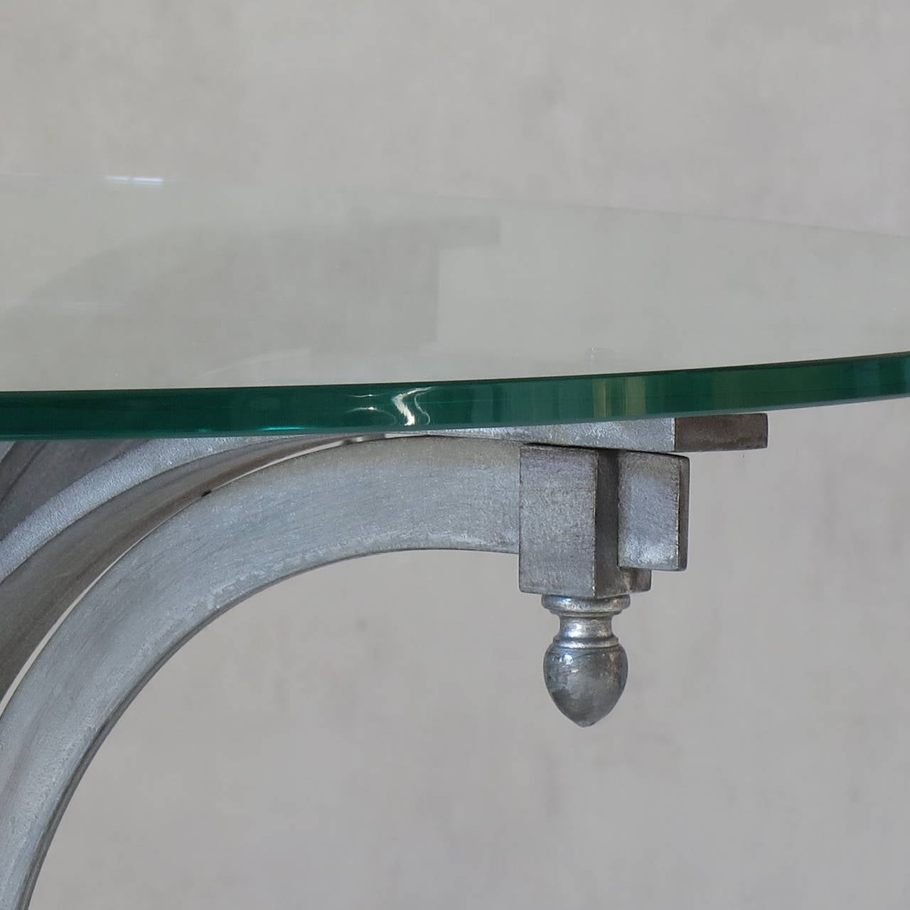 Neoclassical Silvered Iron Coffee Table with Glass Top, France, 1950s For Sale