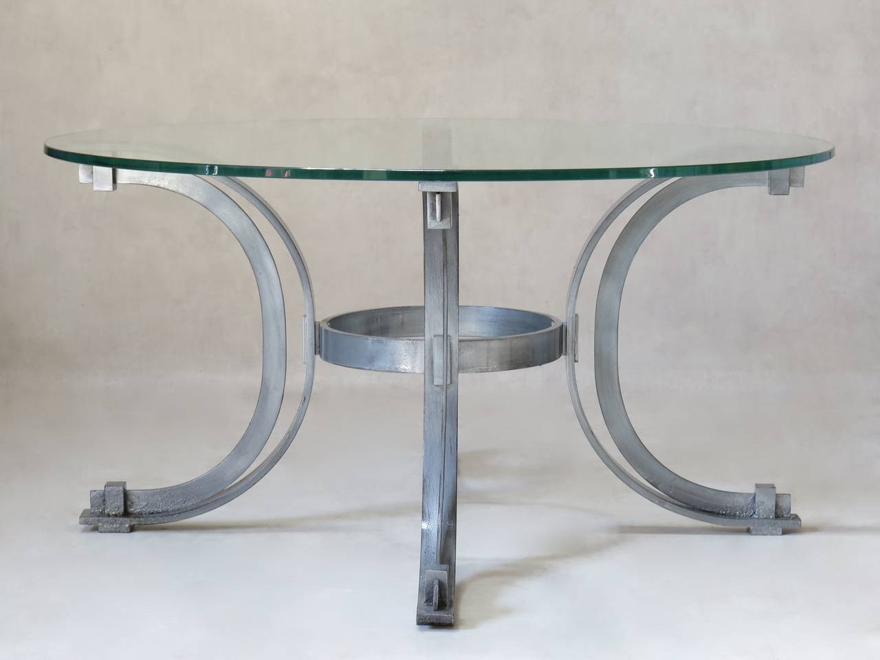 Silvered Iron Coffee Table with Glass Top, France, 1950s For Sale 2