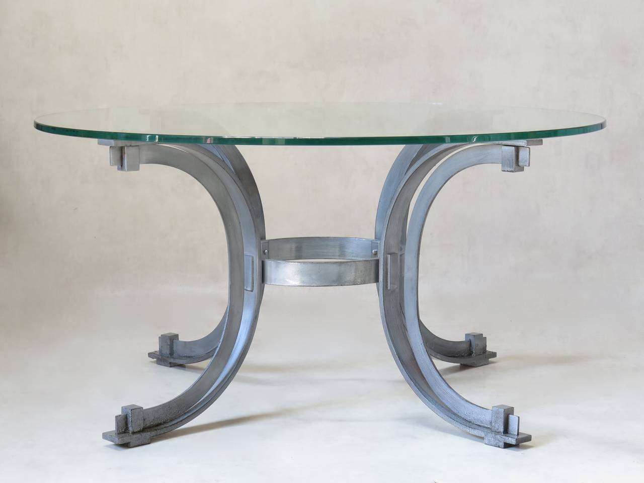 Silvered Iron Coffee Table with Glass Top, France, 1950s For Sale 1
