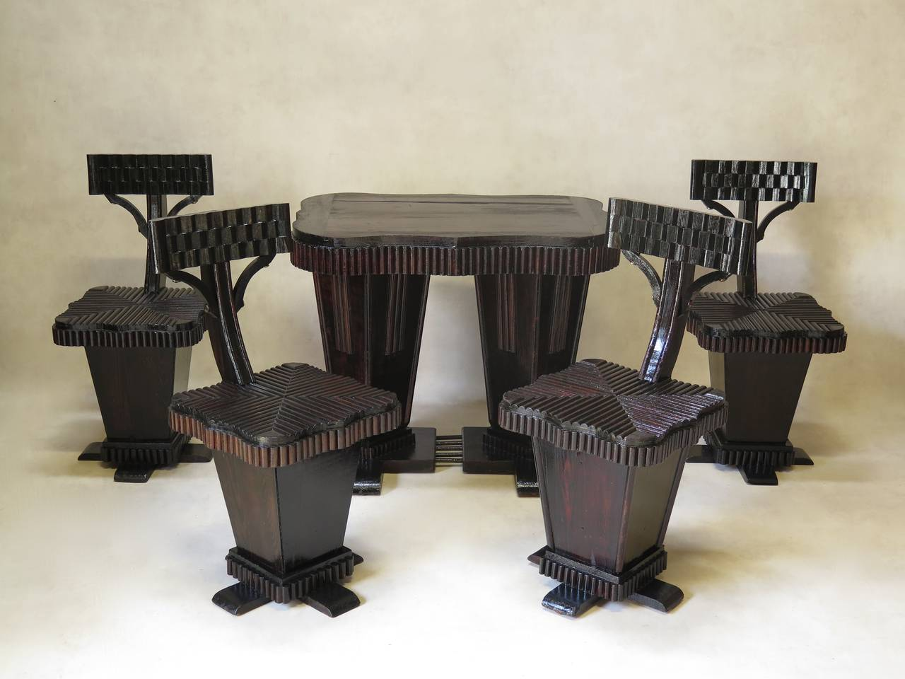 Unusual Art Deco Table and Chair Set, France, 1930s 2