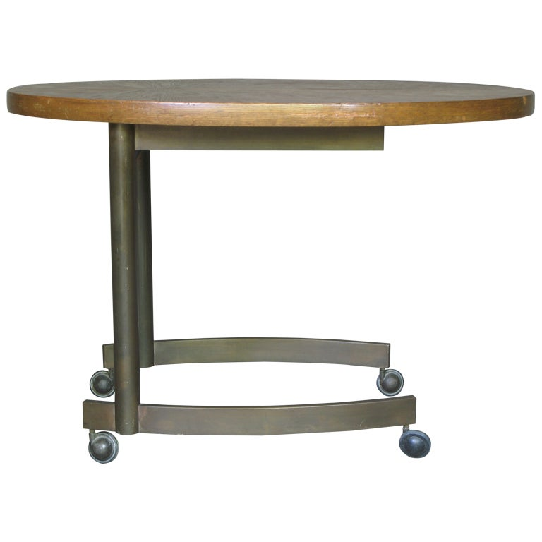 Side Table With Oval Top On Wheels At 1stdibs