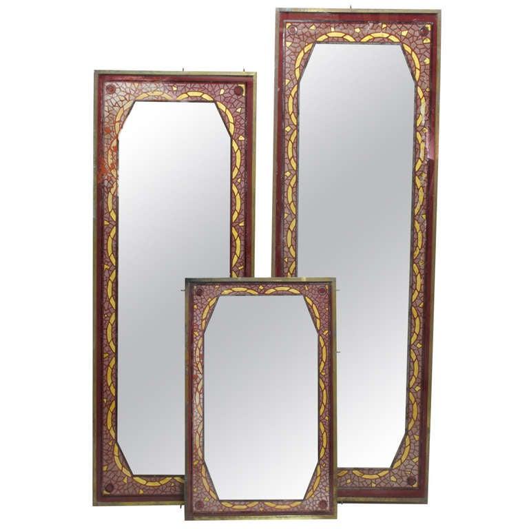 Set of Three Art Deco Reverse-Painted Mirrors - France, Circa 1920's