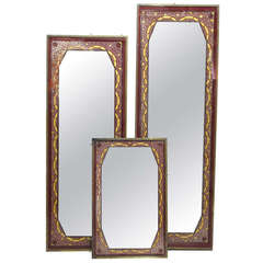 Set of Three Art Deco Reverse-Painted Mirrors - France, Circa 1920's