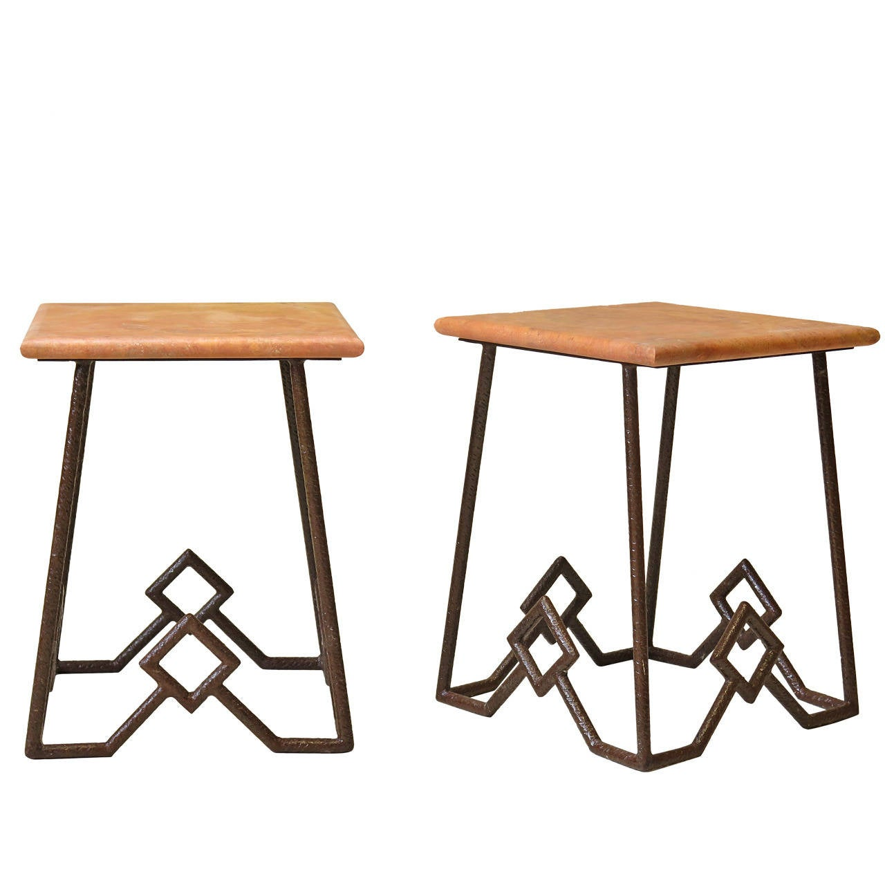 Pair of Iron and Marble Side Tables, France, circa 1950s