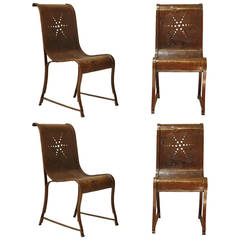 Rare Set of Four Wrought Iron Chairs with Star Design, France, circa 1920s
