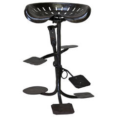 Folk Art Wrought Iron Stool with Tractor Parts, France, circa 1950s