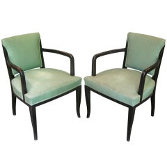 Pair of Large French Art Deco Upholstered Armchairs