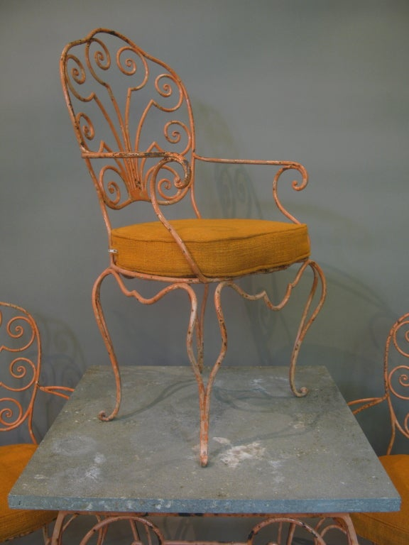 French 1950s Hand Wrought Iron Set Of 4 Chairs And A Table