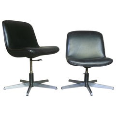 Pair of Leather Swivel Chairs-Height Adjustable