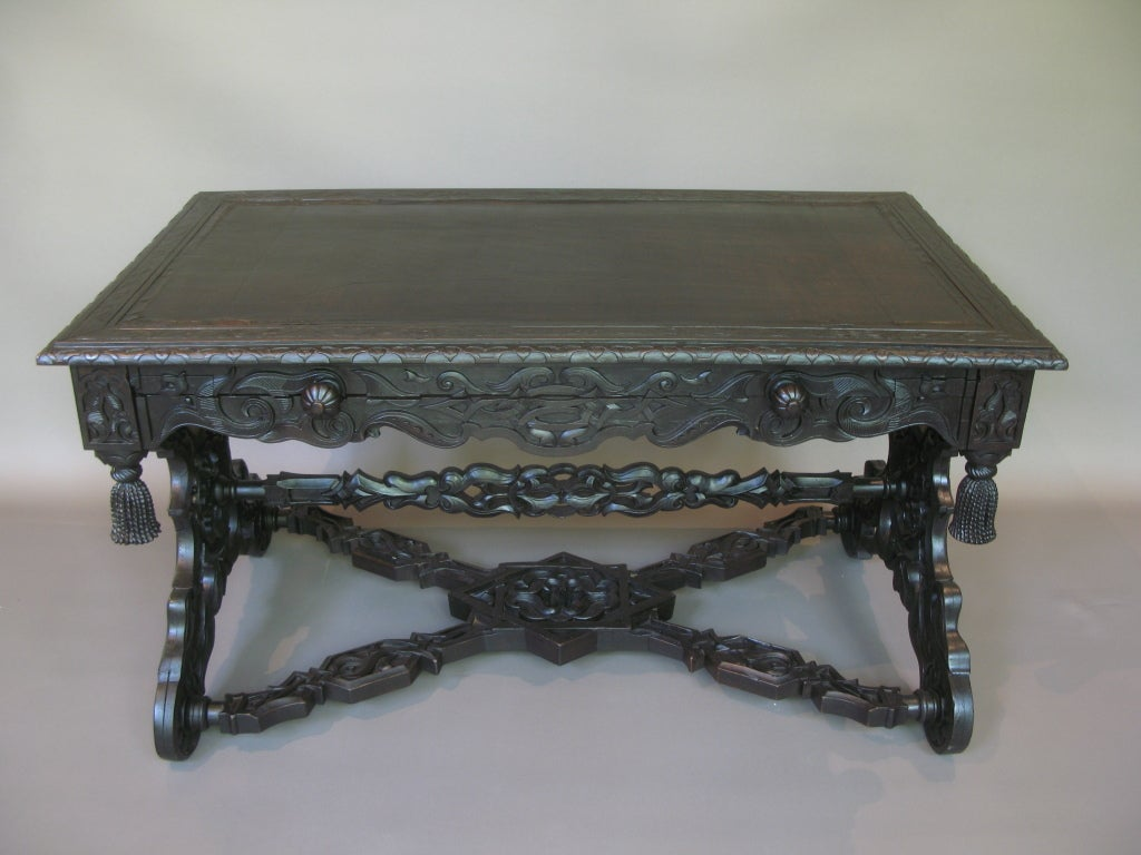 Intricately Carved 19th C. Ebonized Desk Table 2