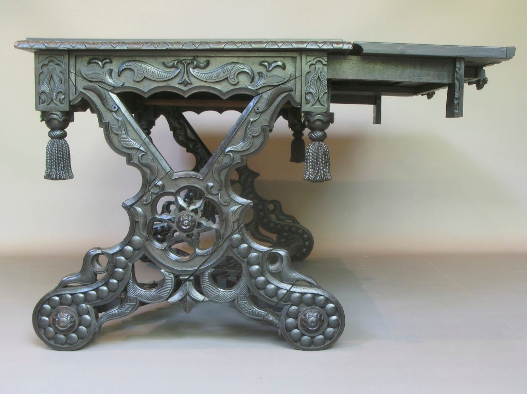 19th Century Intricately Carved 19th C. Ebonized Desk Table For Sale