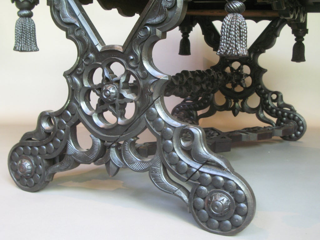 Intricately Carved 19th C. Ebonized Desk Table For Sale 3