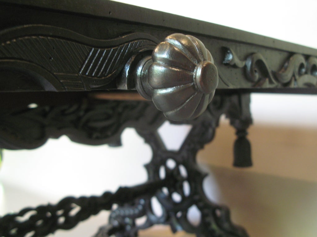 Intricately Carved 19th C. Ebonized Desk Table For Sale 4