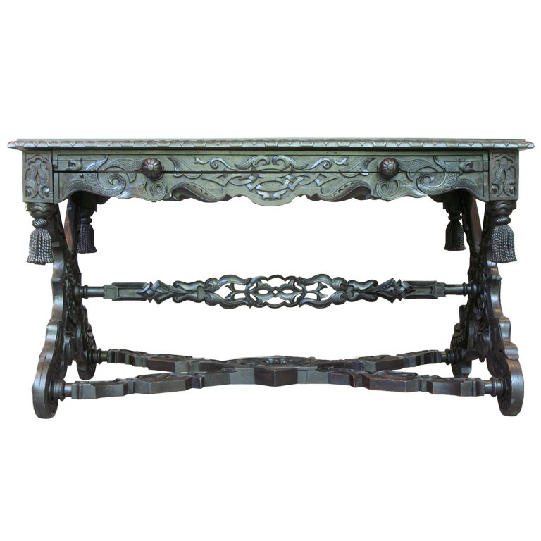 Intricately Carved 19th C. Ebonized Desk Table For Sale