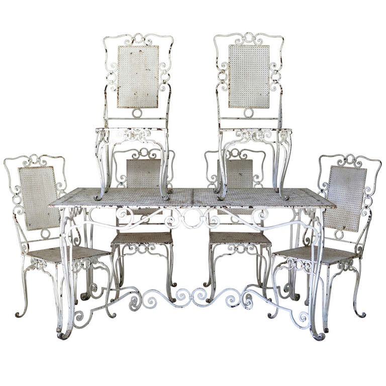 Baroque Wrought Iron Table And Six Chairs France 1940s At 1stdibs