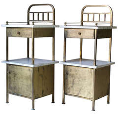 Chic Pair of Hammered Iron and Marble Bedside Tables, France, 1940s