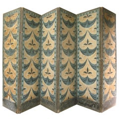 Large 19th Century French, Six-Panel Antique Paper Screen