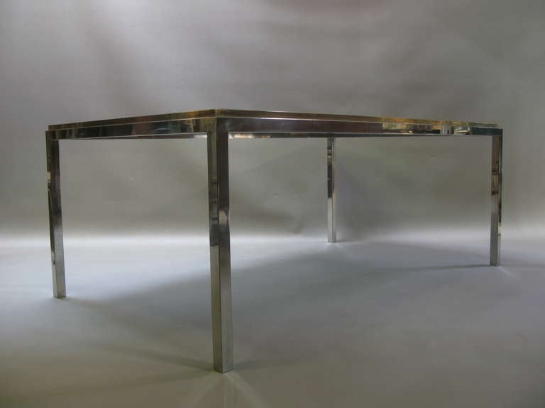 Large willy rizzo chrome brass and glass dining table at for Table willy rizzo