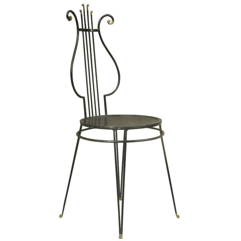 French 1950's Lyre Back Side Chair