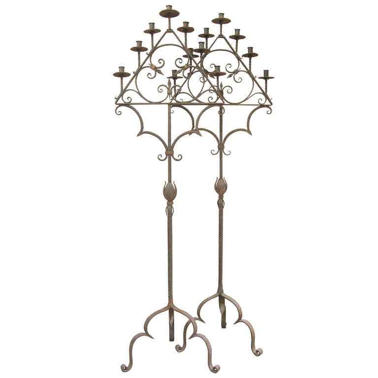 Pair French 19th Century Wrought Iron Candle Holders