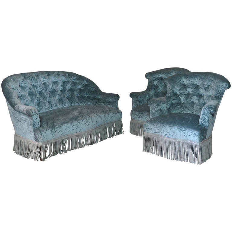 Napoleon III Tufted Settee and Two Armchairs, France, 19th Century