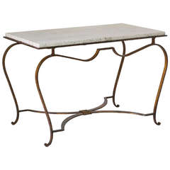 Gilt Wrought-Iron & Travertine Coffee Table, France, 1940s