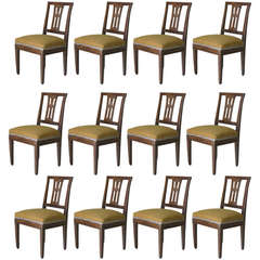 Set of 12 Dining Chairs, France, Late 18th to Early 19th Century