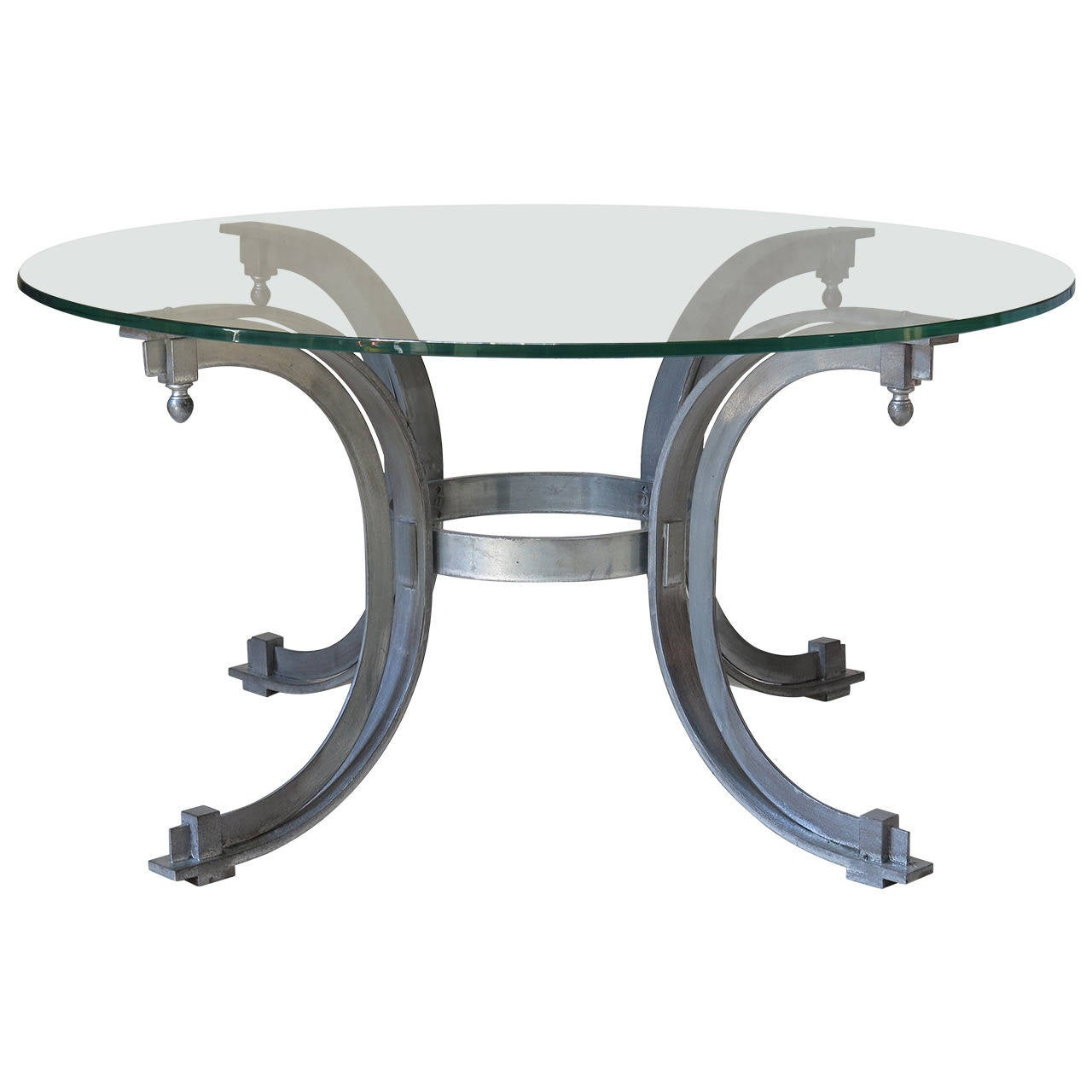 Silvered Iron Coffee Table With Glass Top France 1950s For Sale At 1stdibs