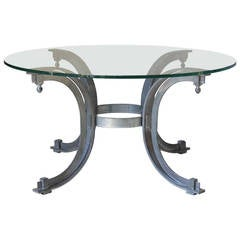 Silvered Iron Coffee Table with Glass Top, France, 1950s