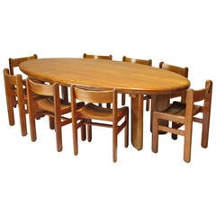 Large Oval Elmwood Table and Eight Chairs, France, 1950s