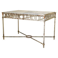 Chic Wrought Iron and Marble Console Table, France, 1940s