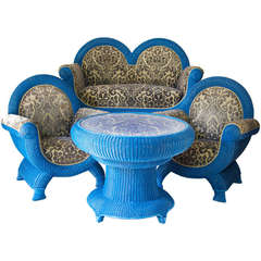 Unusual and Large Wicker Parlor Set, France, circa 1910