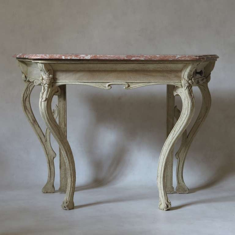 art nouveau oak and marble console table france 1900s for sale at 1stdibs. Black Bedroom Furniture Sets. Home Design Ideas
