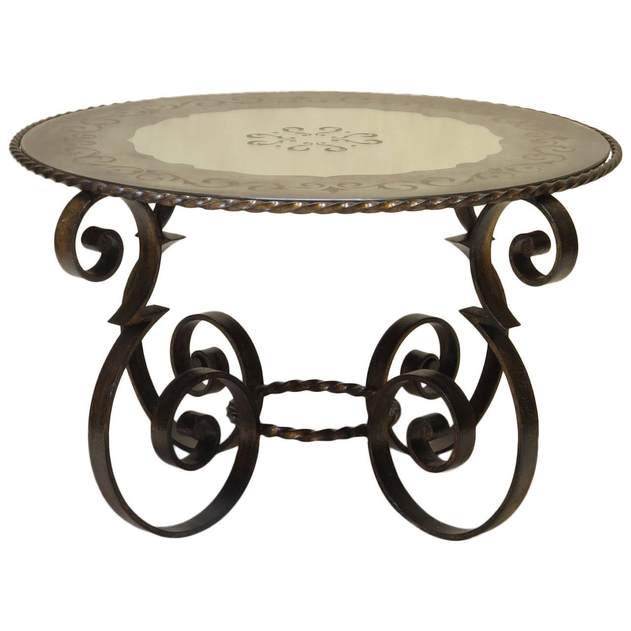Wrought iron coffee table with eglomis mirror top france for Wrought iron coffee table for sale