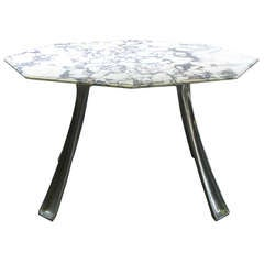 Cast Aluminium and Marble Table by Charron