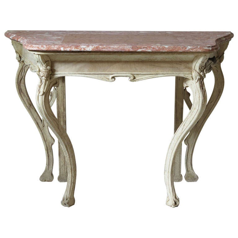 Art Nouveau Oak And Marble Console Table, France, 1900s